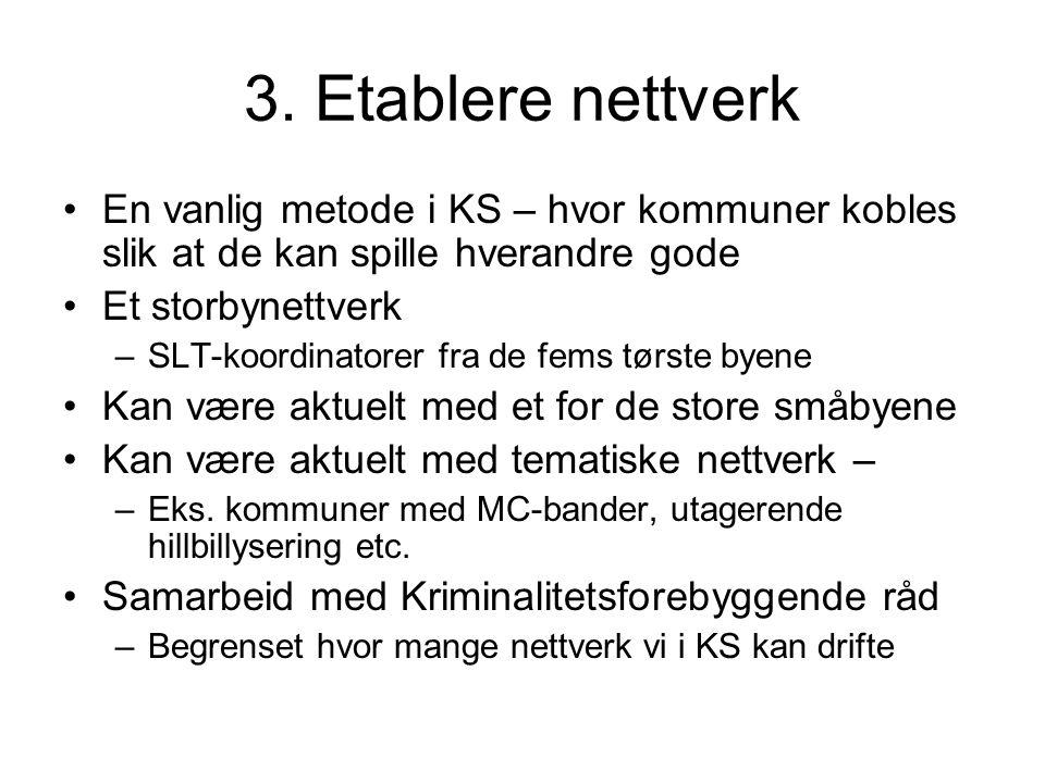 3. Etablere nettverk En vanlig metode i KS – hvor kommuner kobles slik at de kan spille hverandre gode Et storbynettverk –SLT-koordinatorer fra de fem