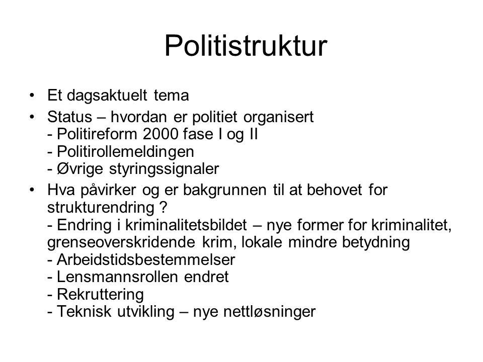 Politistruktur Et dagsaktuelt tema Status – hvordan er politiet organisert - Politireform 2000 fase I og II - Politirollemeldingen - Øvrige styringssignaler Hva påvirker og er bakgrunnen til at behovet for strukturendring .