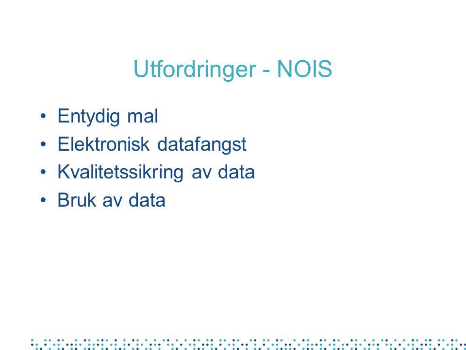 Utfordringer - NOIS Entydig mal Elektronisk datafangst Kvalitetssikring av data Bruk av data