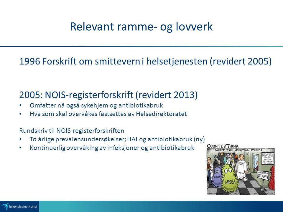 Relevant ramme- og lovverk 1996 Forskrift om smittevern i helsetjenesten (revidert 2005) 2005: NOIS-registerforskrift (revidert 2013) Omfatter nå også