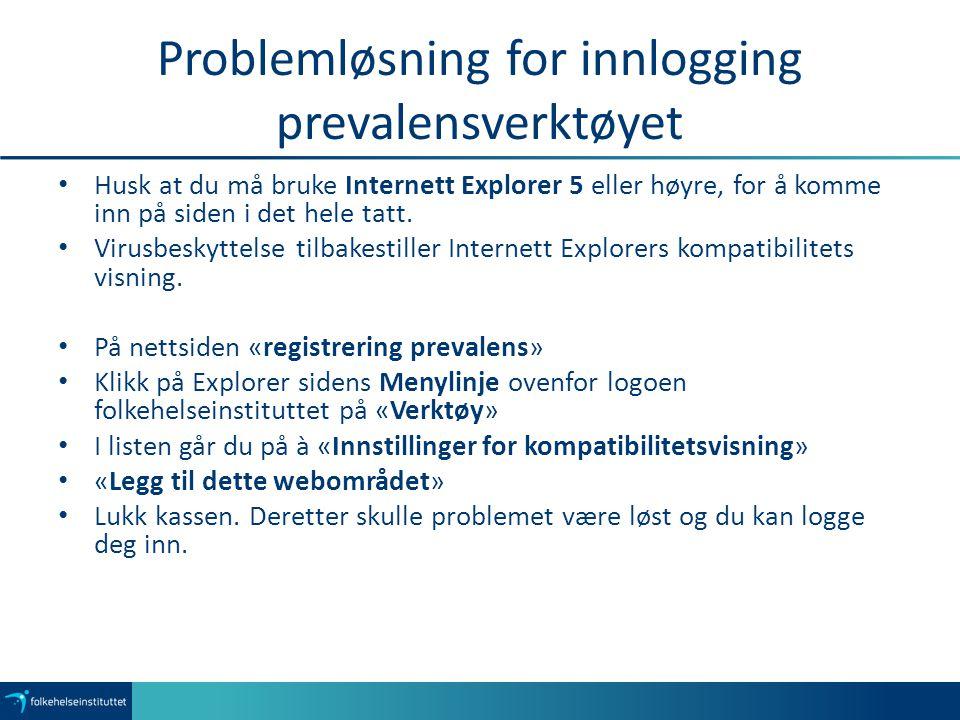 Problemløsning for innlogging prevalensverktøyet Husk at du må bruke Internett Explorer 5 eller høyre, for å komme inn på siden i det hele tatt.
