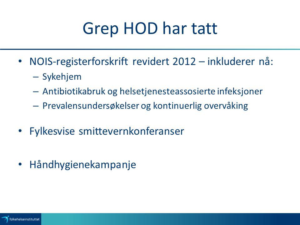 Grep HOD har tatt NOIS-registerforskrift revidert 2012 – inkluderer nå: – Sykehjem – Antibiotikabruk og helsetjenesteassosierte infeksjoner – Prevalen