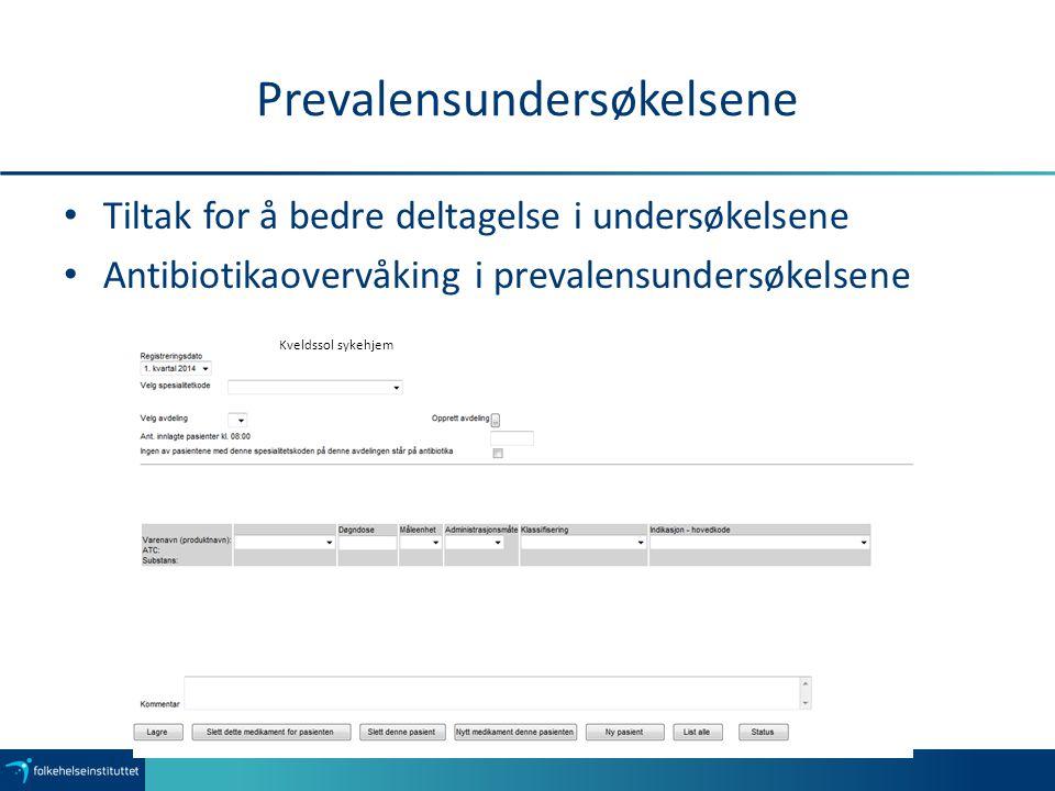 Prevalensundersøkelsene Tiltak for å bedre deltagelse i undersøkelsene Antibiotikaovervåking i prevalensundersøkelsene Kveldssol sykehjem