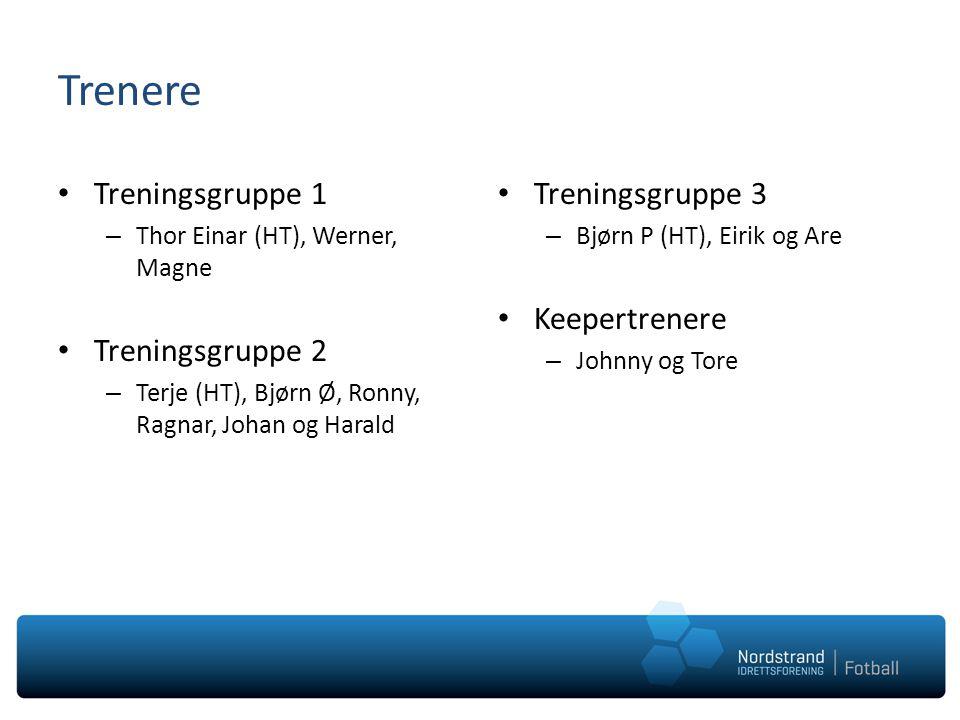Trenere Treningsgruppe 1 – Thor Einar (HT), Werner, Magne Treningsgruppe 2 – Terje (HT), Bjørn Ø, Ronny, Ragnar, Johan og Harald Treningsgruppe 3 – Bj