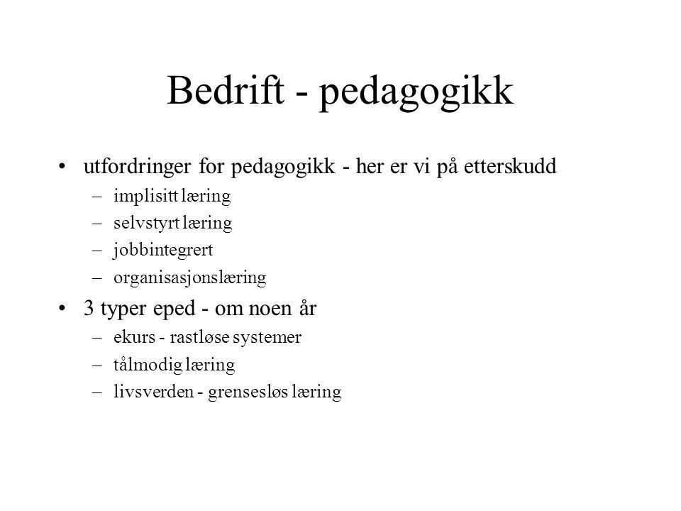 Bedrift - pedagogikk utfordringer for pedagogikk - her er vi på etterskudd –implisitt læring –selvstyrt læring –jobbintegrert –organisasjonslæring 3 t