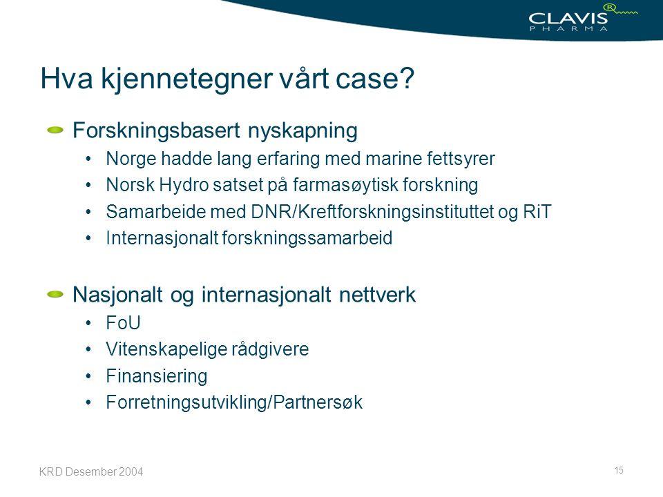KRD Desember 2004 15 Hva kjennetegner vårt case? Forskningsbasert nyskapning Norge hadde lang erfaring med marine fettsyrer Norsk Hydro satset på farm