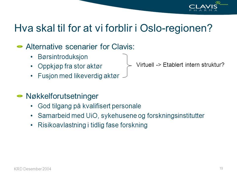 KRD Desember 2004 19 Hva skal til for at vi forblir i Oslo-regionen? Alternative scenarier for Clavis: Børsintroduksjon Oppkjøp fra stor aktør Fusjon