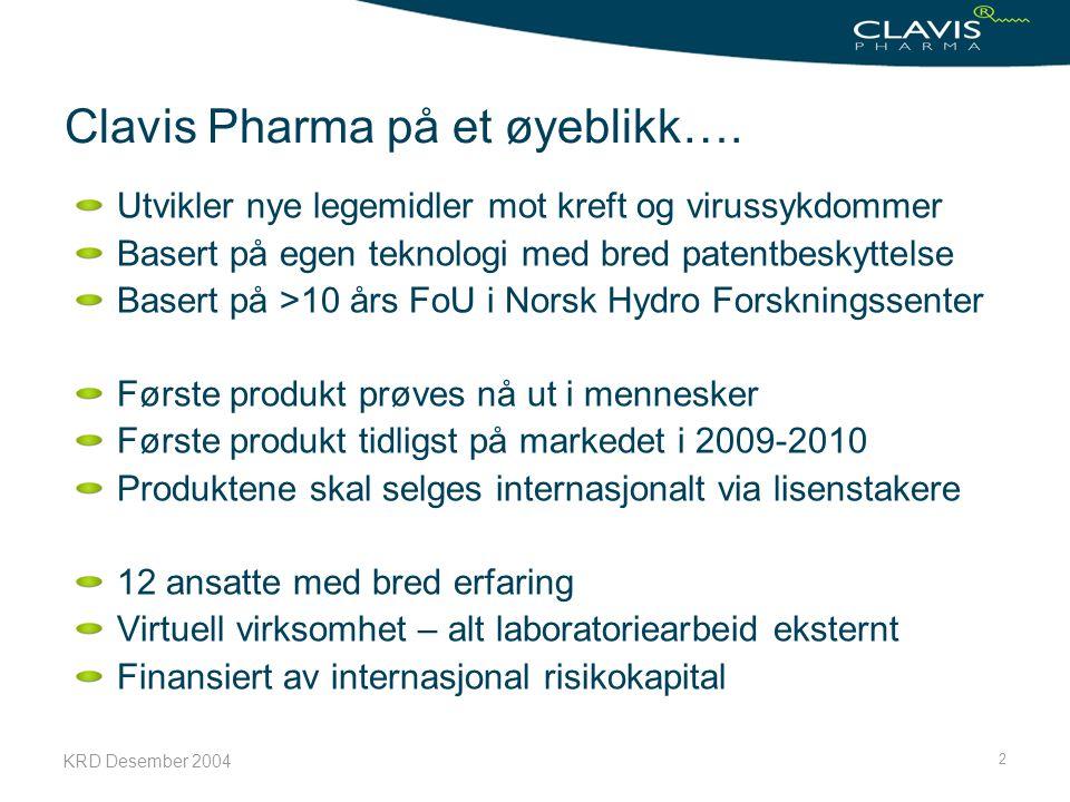 KRD Desember 2004 2 Clavis Pharma på et øyeblikk…. Utvikler nye legemidler mot kreft og virussykdommer Basert på egen teknologi med bred patentbeskytt