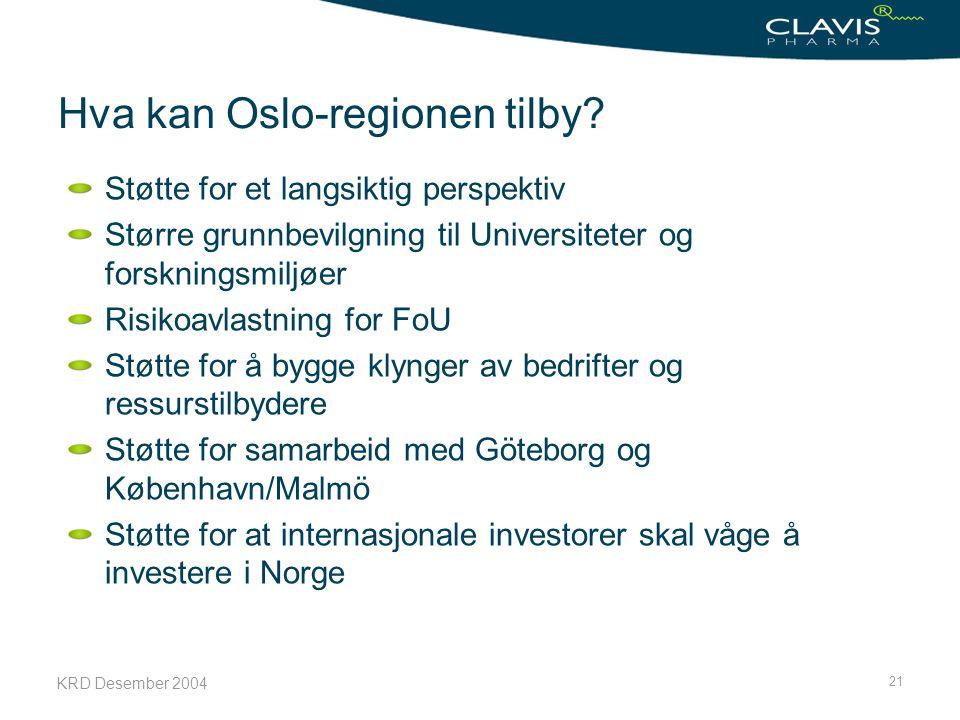 KRD Desember 2004 21 Hva kan Oslo-regionen tilby? Støtte for et langsiktig perspektiv Større grunnbevilgning til Universiteter og forskningsmiljøer Ri