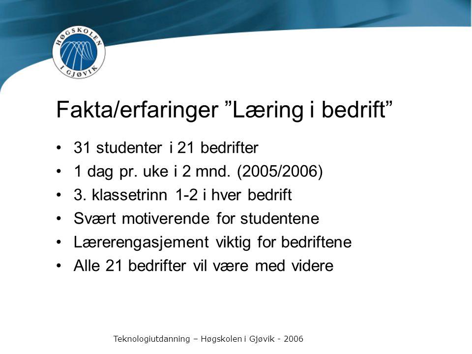 Teknologiutdanning – Høgskolen i Gjøvik - 2006 Fakta/erfaringer Læring i bedrift 31 studenter i 21 bedrifter 1 dag pr.
