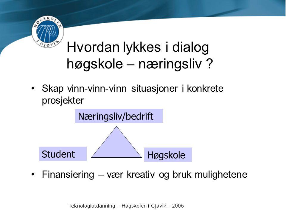 Teknologiutdanning – Høgskolen i Gjøvik - 2006 Hvordan lykkes i dialog høgskole – næringsliv .