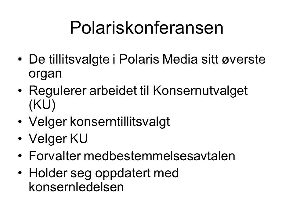 Polariskonferansen De tillitsvalgte i Polaris Media sitt øverste organ Regulerer arbeidet til Konsernutvalget (KU) Velger konserntillitsvalgt Velger KU Forvalter medbestemmelsesavtalen Holder seg oppdatert med konsernledelsen