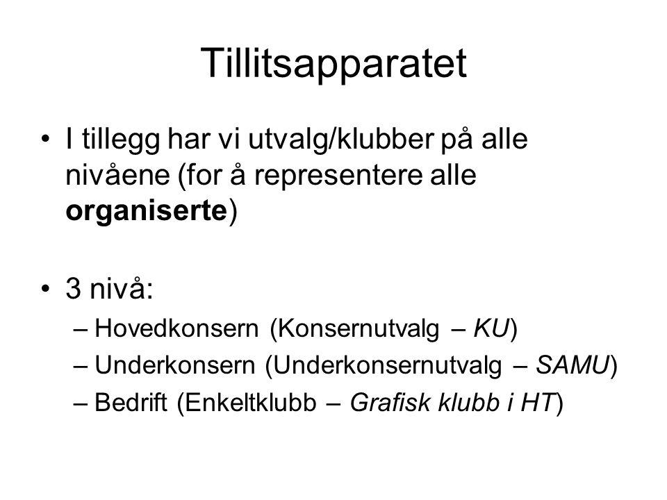 Tillitsapparatet I tillegg har vi utvalg/klubber på alle nivåene (for å representere alle organiserte) 3 nivå: –Hovedkonsern (Konsernutvalg – KU) –Und