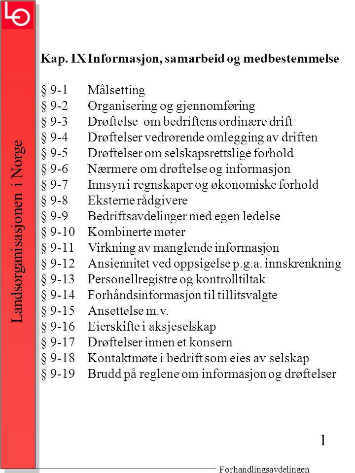 Forhandlingsavdelingen Landsorganisasjonen i Norge Kap.