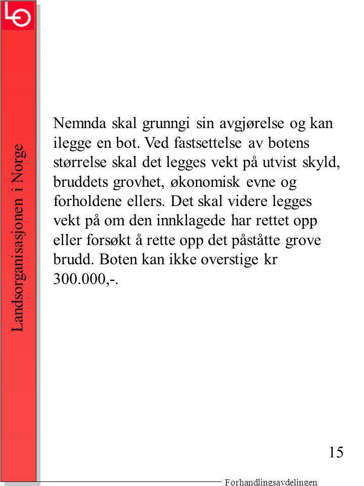 Forhandlingsavdelingen Landsorganisasjonen i Norge Nemnda skal grunngi sin avgjørelse og kan ilegge en bot.