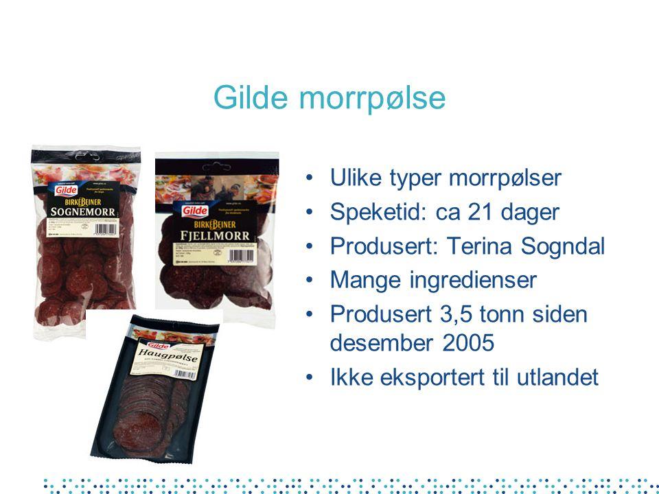 Gilde morrpølse Ulike typer morrpølser Speketid: ca 21 dager Produsert: Terina Sogndal Mange ingredienser Produsert 3,5 tonn siden desember 2005 Ikke eksportert til utlandet