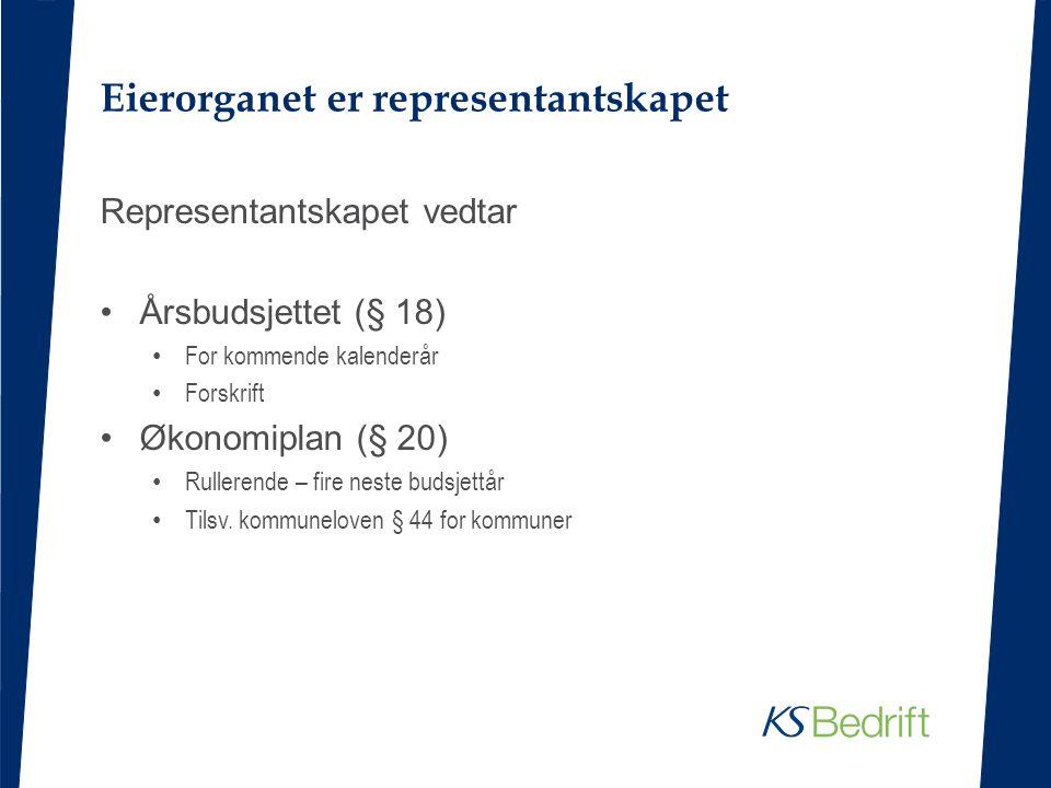 Eierorganet er representantskapet Representantskapet vedtar Årsbudsjettet (§ 18) For kommende kalenderår Forskrift Økonomiplan (§ 20) Rullerende – fir