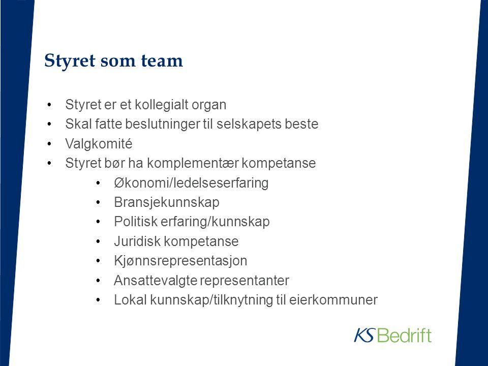 Styret som team Styret er et kollegialt organ Skal fatte beslutninger til selskapets beste Valgkomité Styret bør ha komplementær kompetanse Økonomi/le