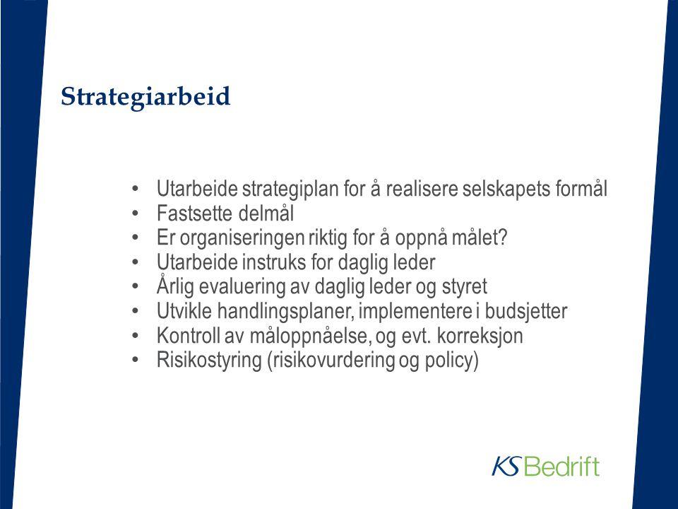 Strategiarbeid Utarbeide strategiplan for å realisere selskapets formål Fastsette delmål Er organiseringen riktig for å oppnå målet? Utarbeide instruk