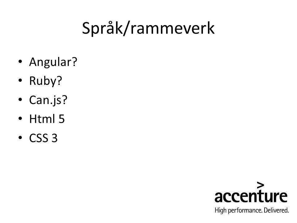 Språk/rammeverk Angular? Ruby? Can.js? Html 5 CSS 3