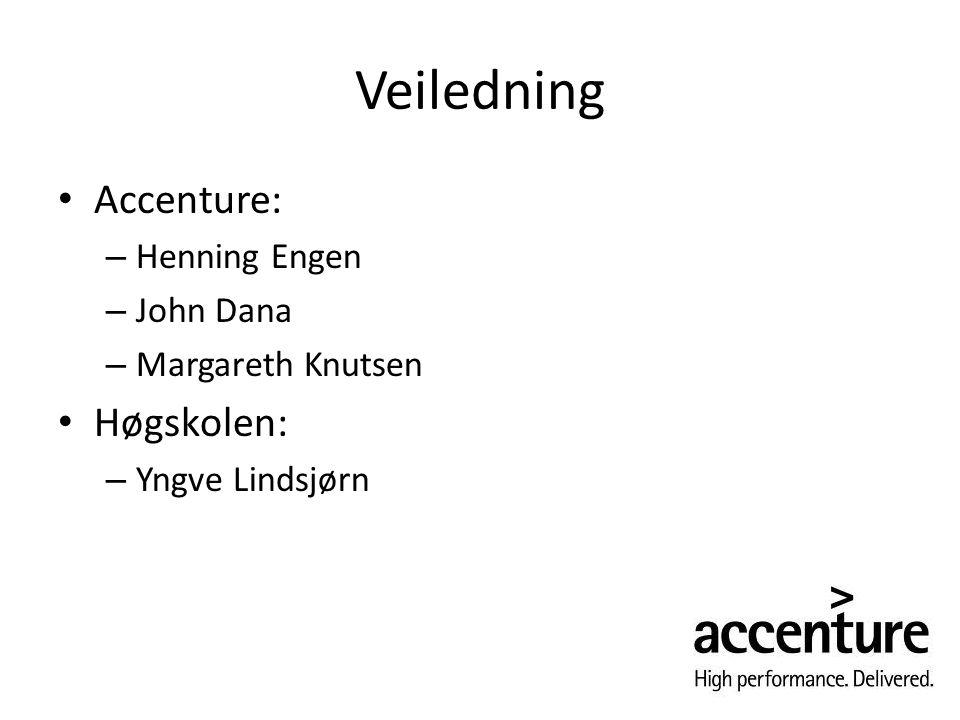Veiledning Accenture: – Henning Engen – John Dana – Margareth Knutsen Høgskolen: – Yngve Lindsjørn
