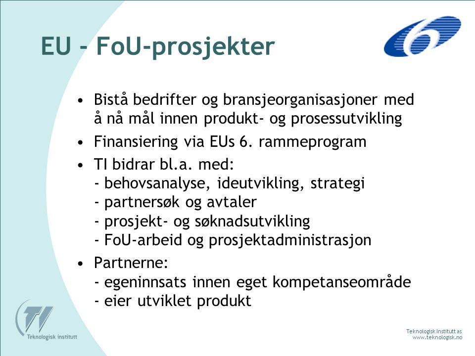 Teknologisk Institutt as www.teknologisk.no EU - FoU-prosjekter Bistå bedrifter og bransjeorganisasjoner med å nå mål innen produkt- og prosessutvikling Finansiering via EUs 6.