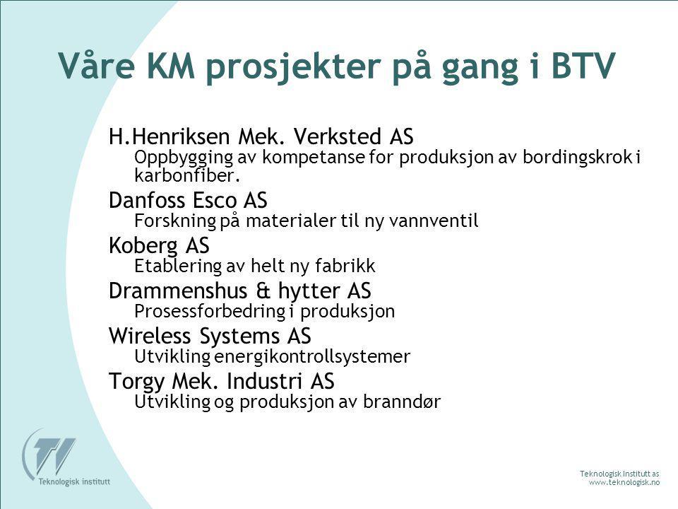 Teknologisk Institutt as www.teknologisk.no Våre KM prosjekter på gang i BTV H.Henriksen Mek.