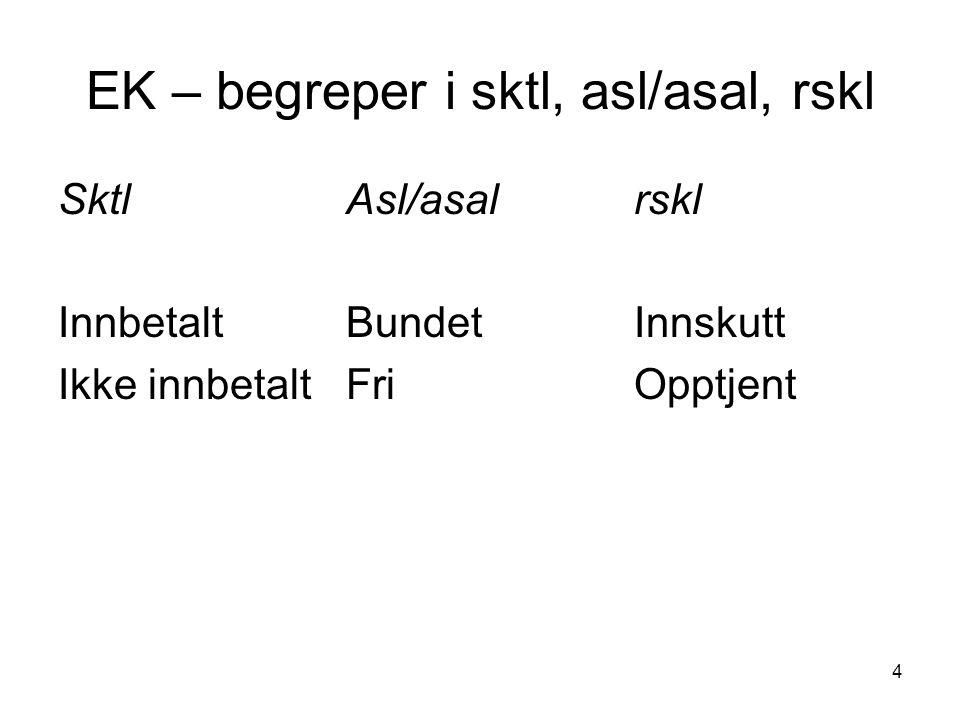 4 EK – begreper i sktl, asl/asal, rskl SktlAsl/asalrskl InnbetaltBundetInnskutt Ikke innbetaltFriOpptjent