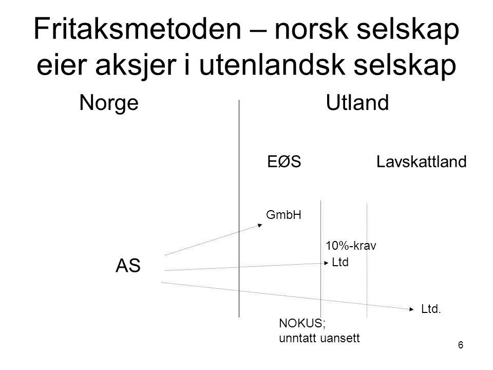 6 Fritaksmetoden – norsk selskap eier aksjer i utenlandsk selskap Norge Utland AS EØS Lavskattland GmbH Ltd Ltd. NOKUS; unntatt uansett 10%-krav