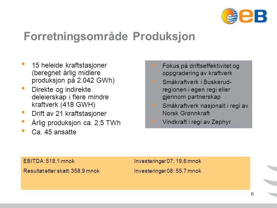 6 Forretningsområde Produksjon 15 heleide kraftstasjoner (beregnet årlig midlere produksjon på 2.042 GWh) Direkte og indirekte deleierskap i flere mindre kraftverk (418 GWH) Drift av 21 kraftstasjoner Årlig produksjon ca.