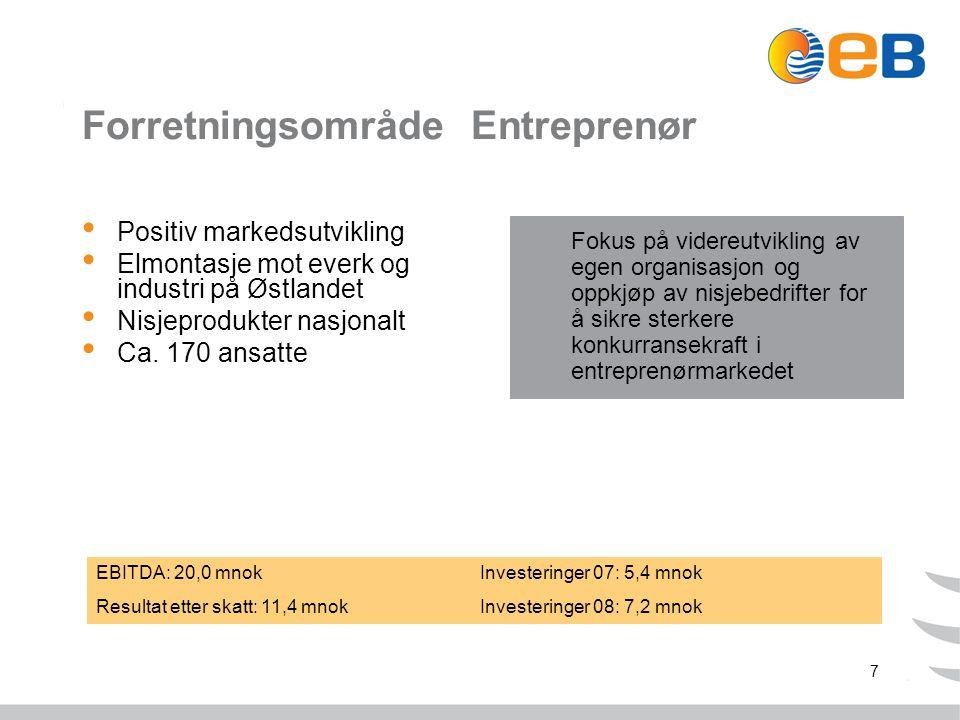 7 Forretningsområde Entreprenør Positiv markedsutvikling Elmontasje mot everk og industri på Østlandet Nisjeprodukter nasjonalt Ca.