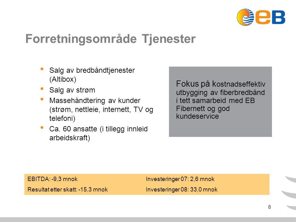 8 Forretningsområde Tjenester Salg av bredbåndtjenester (Altibox) Salg av strøm Massehåndtering av kunder (strøm, nettleie, internett, TV og telefoni) Ca.