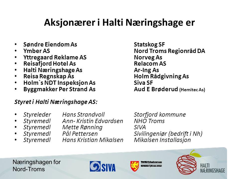 Aksjonærer i Halti Næringshage er Søndre Eiendom AsStatskog SF Ymber ASNord Troms Regionråd DA Yttregaard Reklame ASNorveg As Reisafjord Hotel AsRelac