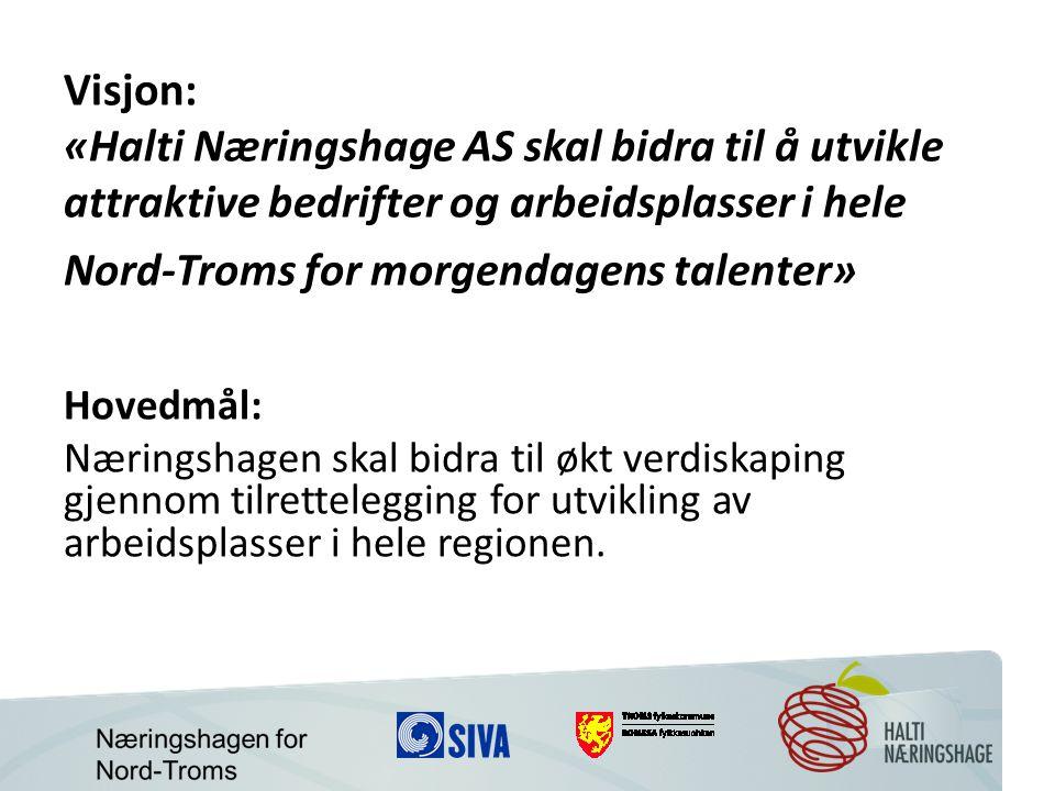 Visjon: «Halti Næringshage AS skal bidra til å utvikle attraktive bedrifter og arbeidsplasser i hele Nord-Troms for morgendagens talenter» Hovedmål: Næringshagen skal bidra til økt verdiskaping gjennom tilrettelegging for utvikling av arbeidsplasser i hele regionen.
