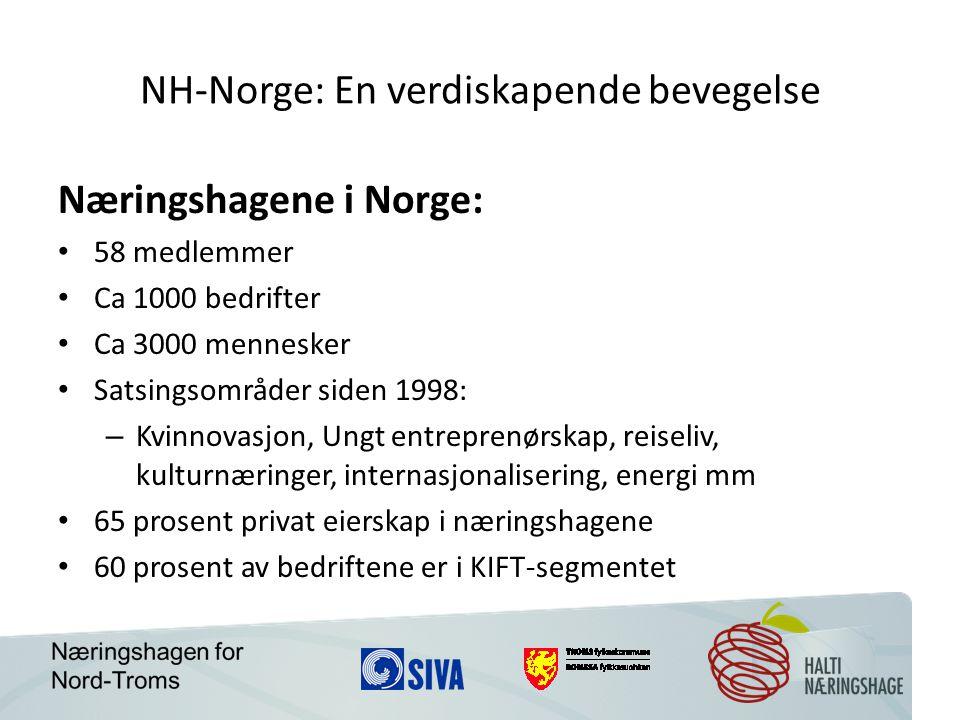 NH-Norge: En verdiskapende bevegelse Næringshagene i Norge: 58 medlemmer Ca 1000 bedrifter Ca 3000 mennesker Satsingsområder siden 1998: – Kvinnovasjon, Ungt entreprenørskap, reiseliv, kulturnæringer, internasjonalisering, energi mm 65 prosent privat eierskap i næringshagene 60 prosent av bedriftene er i KIFT-segmentet
