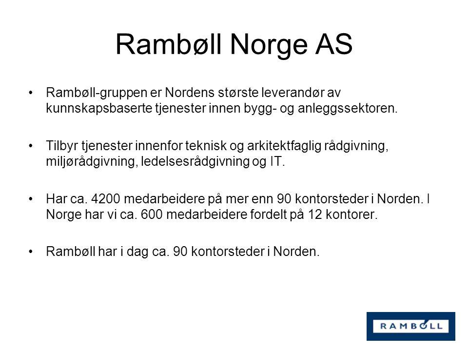 Rambøll-gruppen er Nordens største leverandør av kunnskapsbaserte tjenester innen bygg- og anleggssektoren. Tilbyr tjenester innenfor teknisk og arkit