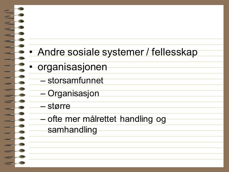 Andre sosiale systemer / fellesskap organisasjonen –storsamfunnet –Organisasjon –større –ofte mer målrettet handling og samhandling