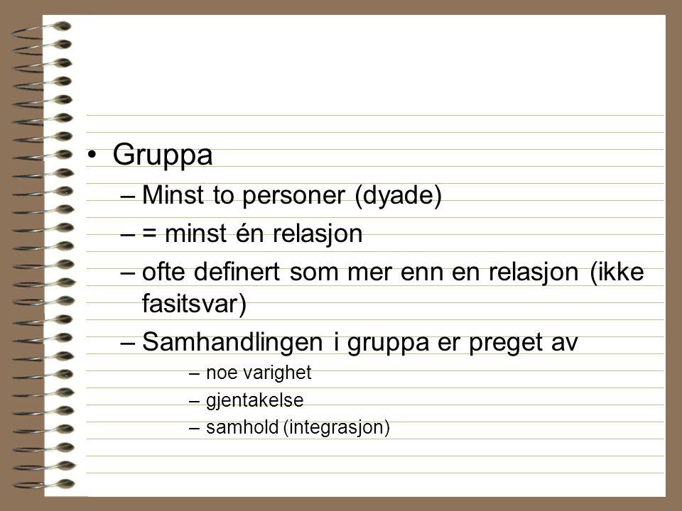 Gruppa –Minst to personer (dyade) –= minst én relasjon –ofte definert som mer enn en relasjon (ikke fasitsvar) –Samhandlingen i gruppa er preget av –n
