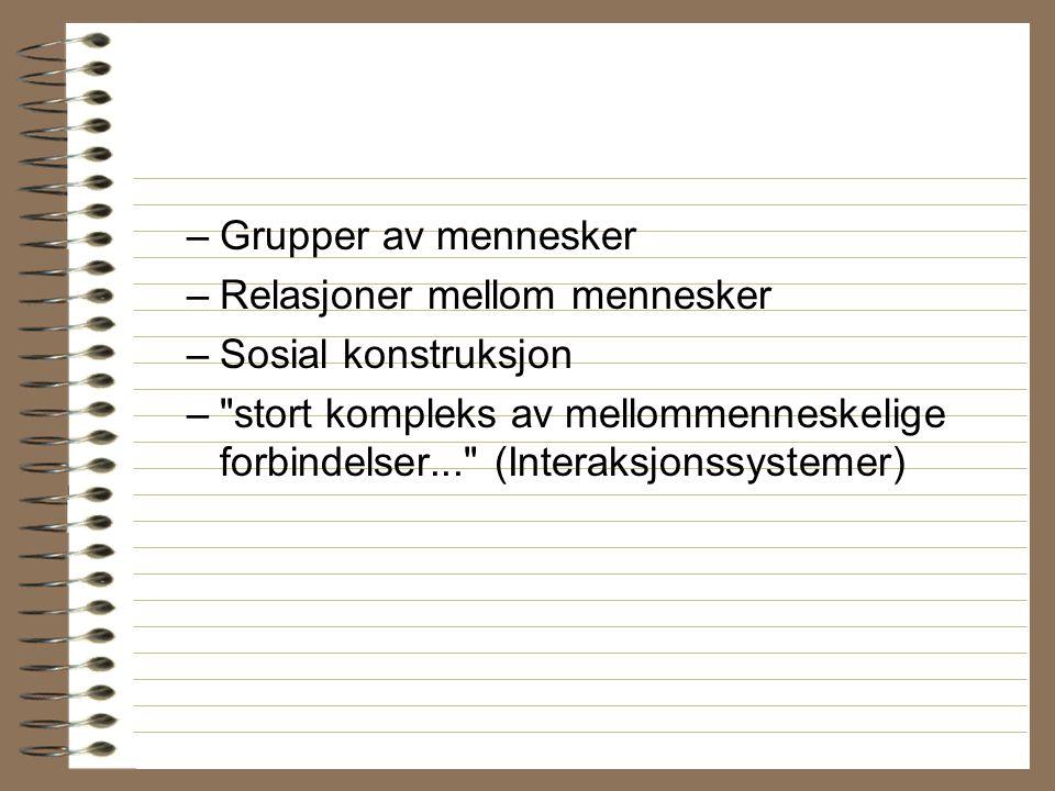 –Grupper av mennesker –Relasjoner mellom mennesker –Sosial konstruksjon –