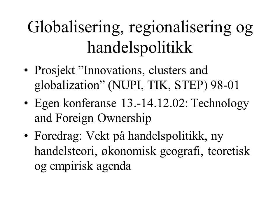 "Globalisering, regionalisering og handelspolitikk Prosjekt ""Innovations, clusters and globalization"" (NUPI, TIK, STEP) 98-01 Egen konferanse 13.-14.12"