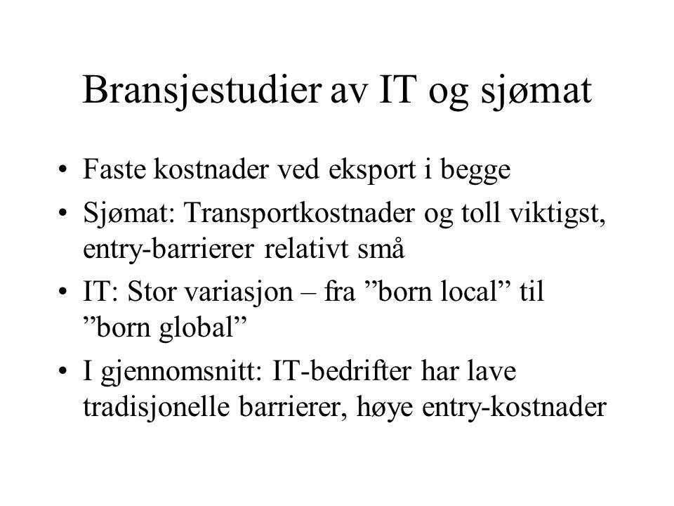 Bransjestudier av IT og sjømat Faste kostnader ved eksport i begge Sjømat: Transportkostnader og toll viktigst, entry-barrierer relativt små IT: Stor