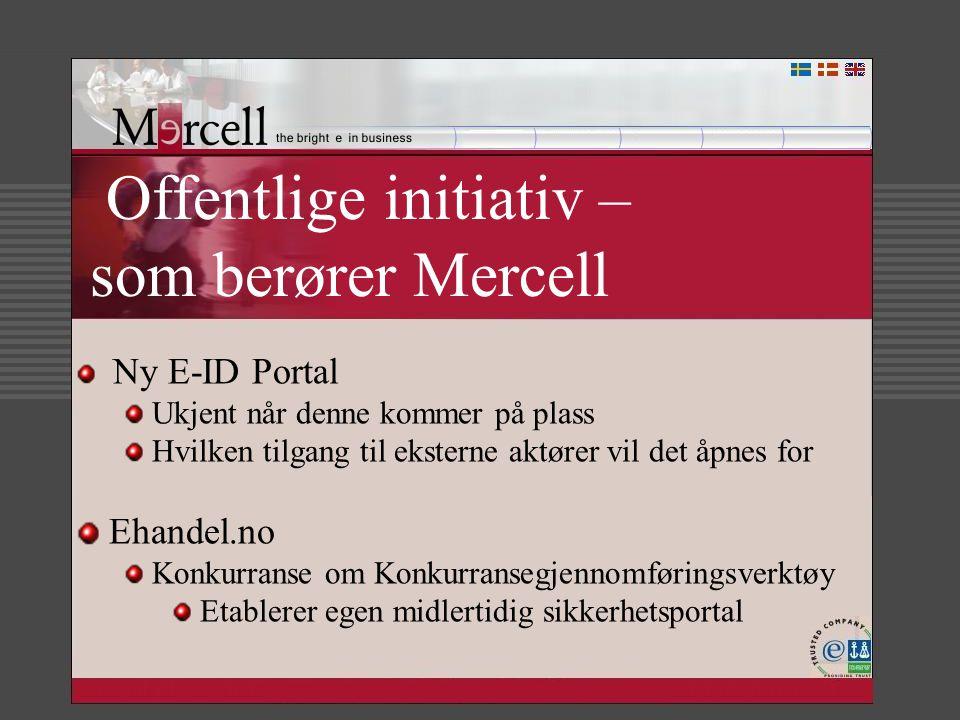 Offentlige initiativ – som berører Mercell Ny E-ID Portal Ukjent når denne kommer på plass Hvilken tilgang til eksterne aktører vil det åpnes for Ehan