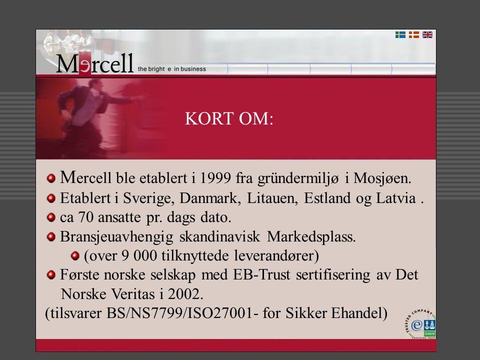 KORT OM: M ercell ble etablert i 1999 fra gründermiljø i Mosjøen. Etablert i Sverige, Danmark, Litauen, Estland og Latvia. ca 70 ansatte pr. dags dato