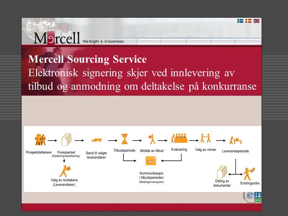 Mercell Sourcing Service Elektronisk signering skjer ved innlevering av tilbud og anmodning om deltakelse på konkurranse
