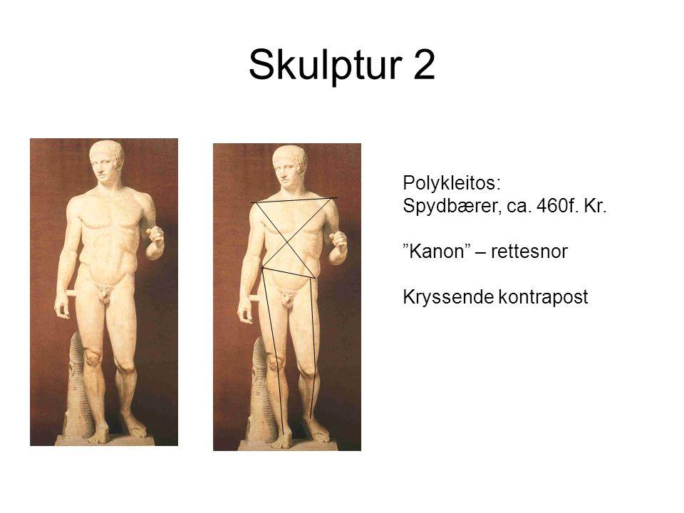 Skulptur 2 Polykleitos: Spydbærer, ca. 460f. Kr. Kanon – rettesnor Kryssende kontrapost