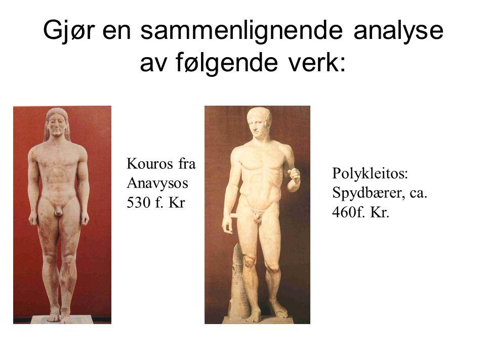 Gjør en sammenlignende analyse av følgende verk: Kouros fra Anavysos 530 f. Kr Polykleitos: Spydbærer, ca. 460f. Kr.