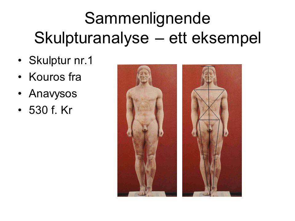 Sammenlignende Skulpturanalyse – ett eksempel Skulptur nr.1 Kouros fra Anavysos 530 f. Kr