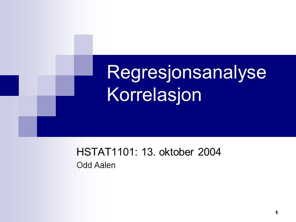 2 Hovedproblemstilling i regresjon og korrelasjon Måler flere størrelser Ønsker å finne ut av sammenhengen mellom dem Regresjon og korrelasjon er statistiske metoder til å bestemme slike sammenhenger