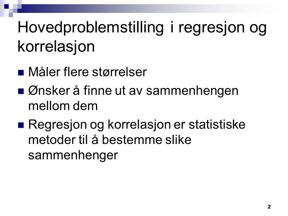 2 Hovedproblemstilling i regresjon og korrelasjon Måler flere størrelser Ønsker å finne ut av sammenhengen mellom dem Regresjon og korrelasjon er stat