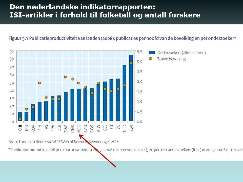 Den nederlandske indikatorrapporten: ISI-artikler i forhold til folketall og antall forskere